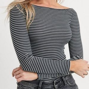 Lucky brand off the shoulder striped top